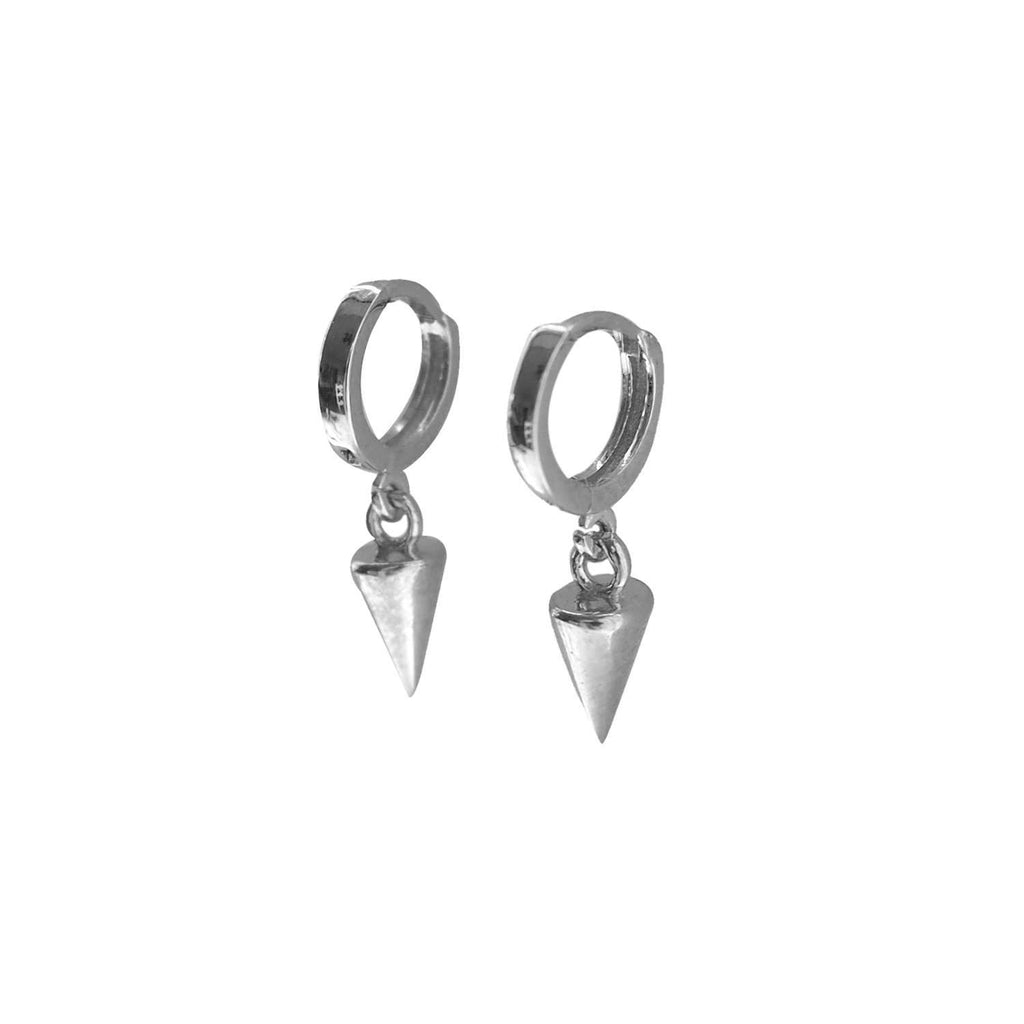 Drop Mini Hoop Huggie Earrings Silver