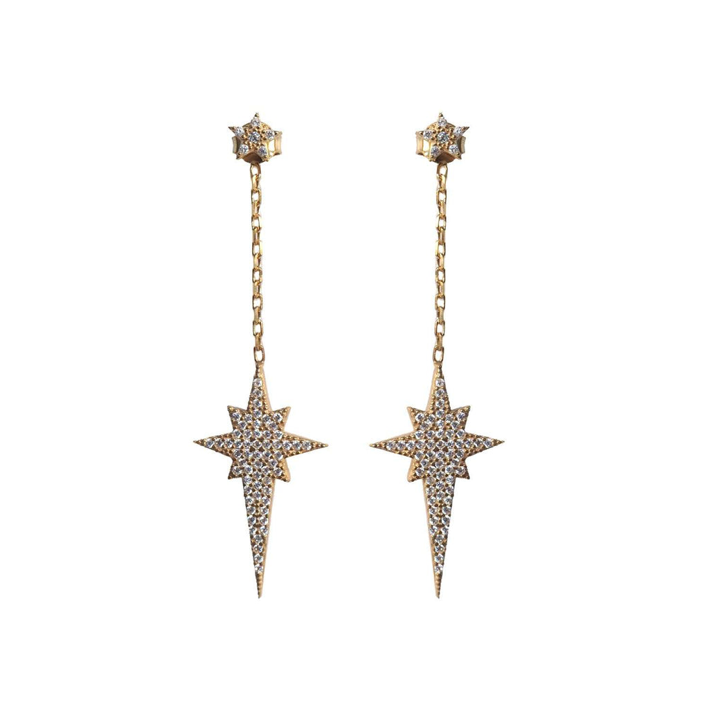 Gold Drop Star Earrings