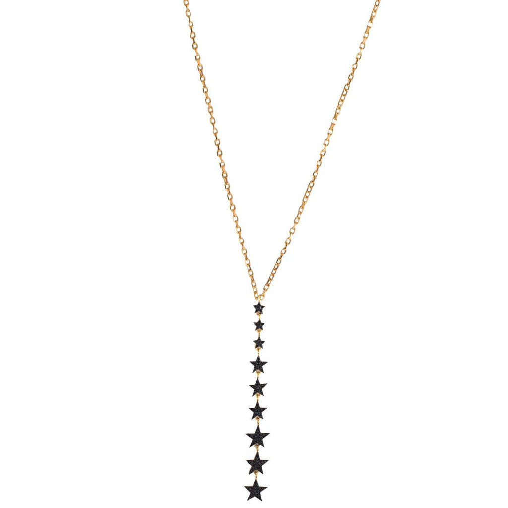 Black Falling Star Necklace Gold