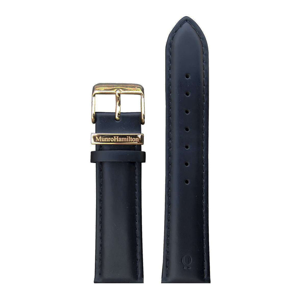 Black Leather/Gold Buckle Watch Strap