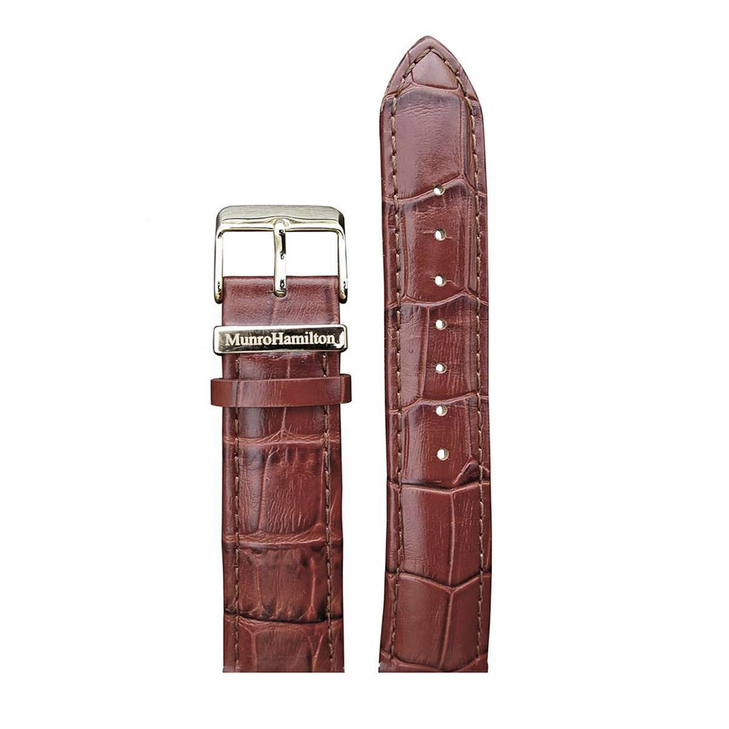 "Brown ""Faux Croc"" Leather/Gold Buckle Watch Strap"