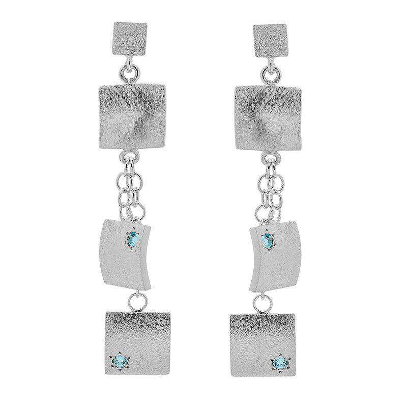 Sterling Silver Drop Earrings with Blue Topaz