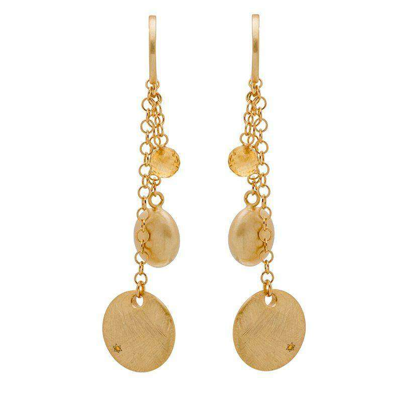 18ct yellow gold plated sterling silver Veneto trilogy earrings set with Citrine