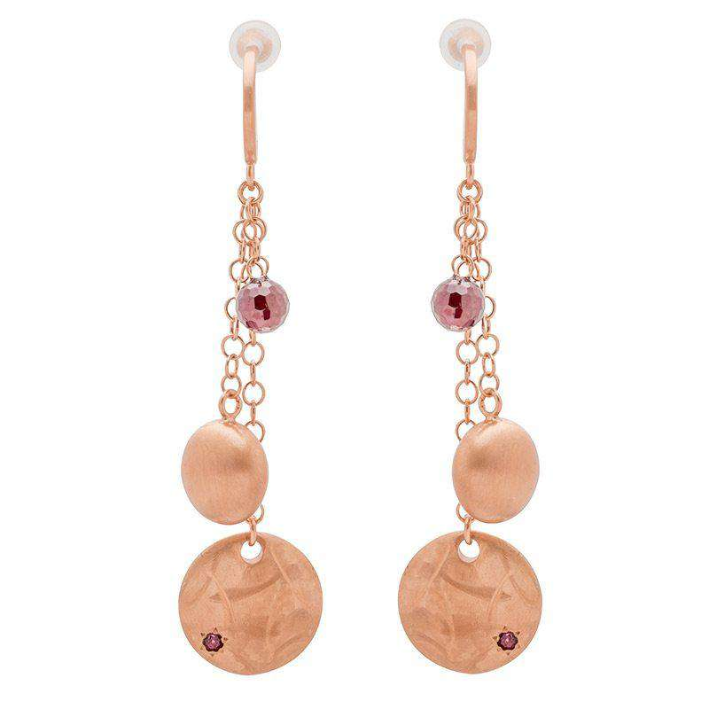 18ct Rose Gold Plated Trilogy Earrings with Garnet