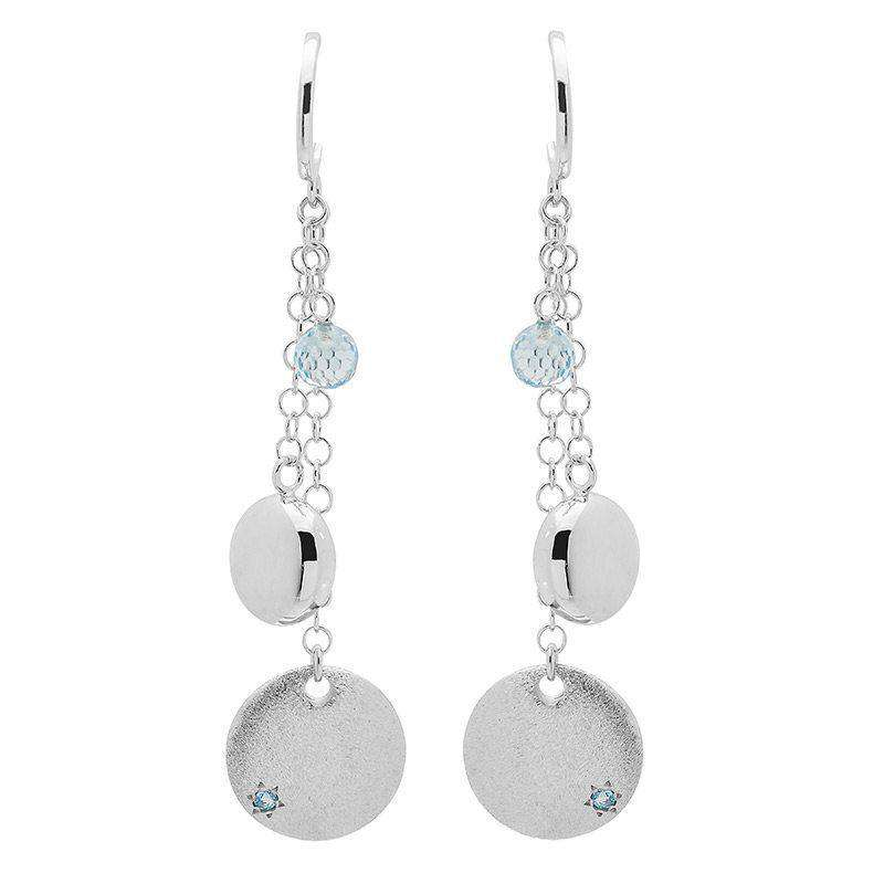 Sterling Silver Trilogy Earrings with Blue Topaz