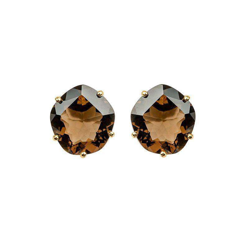 18ct Yellow Gold Plated Smoky Quartz Studs