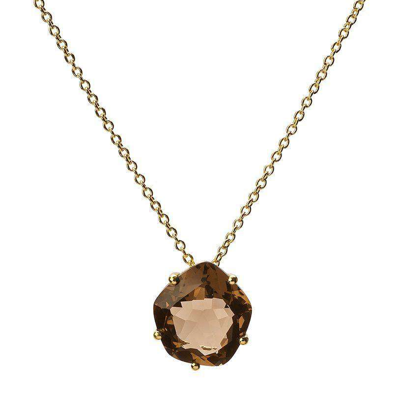 18ct Yellow Gold Plated Smoky Quartz Pendant