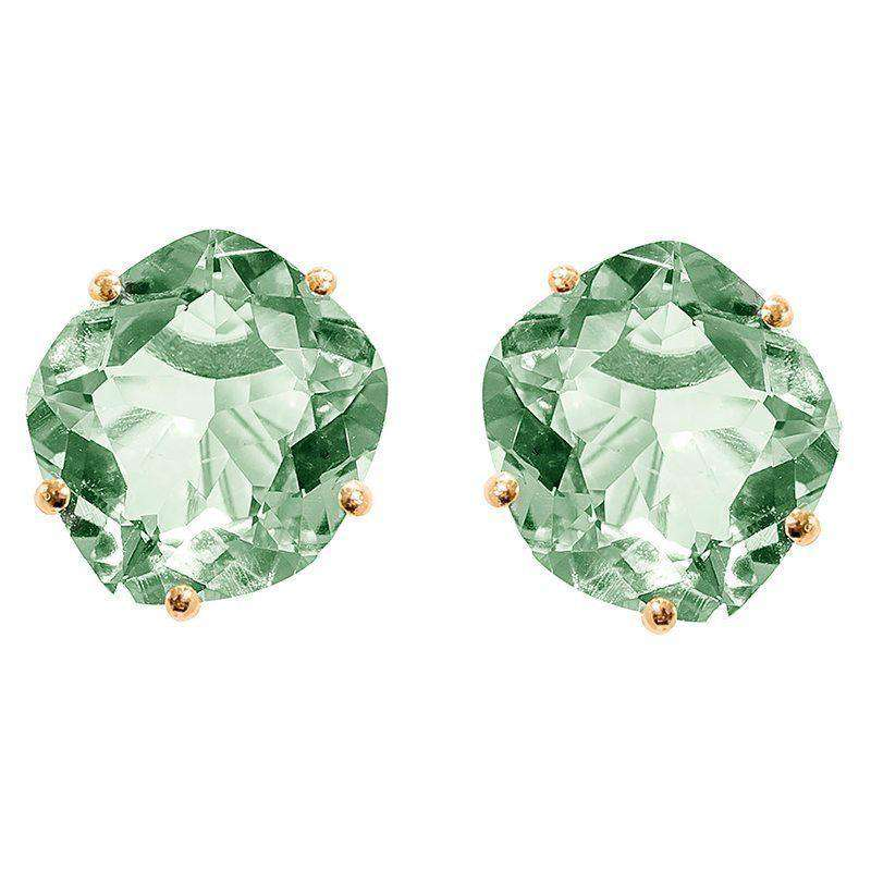 18ct Yellow Gold Plated Green Amethyst Studs