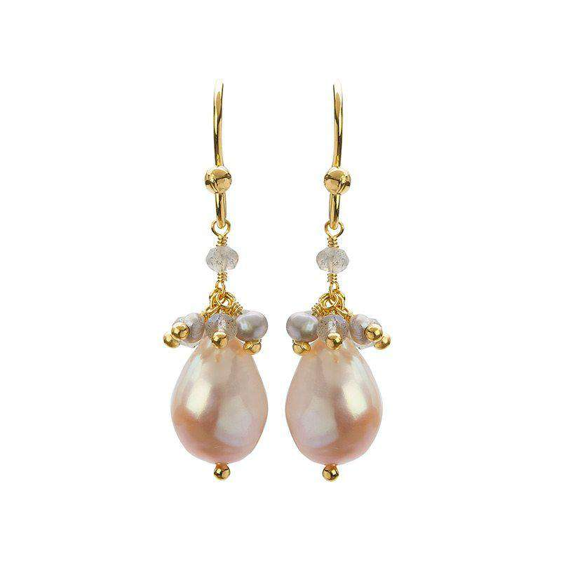 Cari Yellow Gold Labradorite and Pearl Drop Earrings