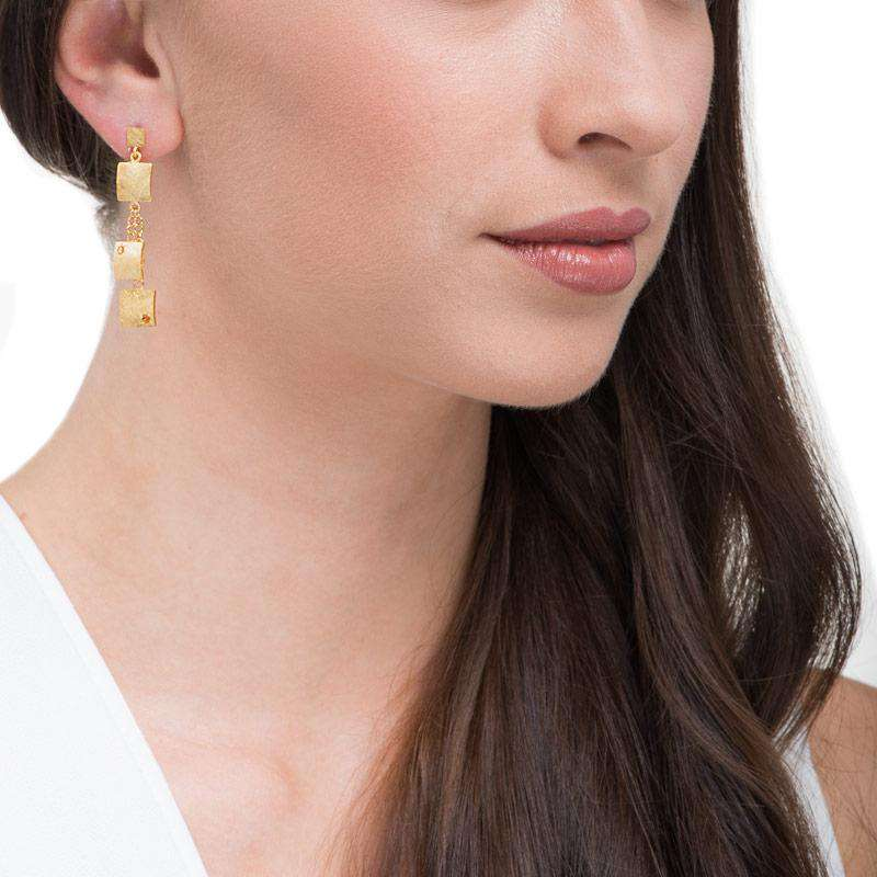 18ct Yellow Gold Plated Drop Earrings with Citrine