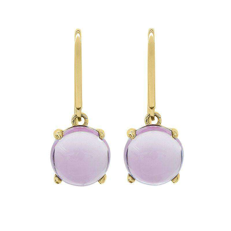 18ct Yellow Gold Plated Sterling Silver Amethyst Claw Set Earrings