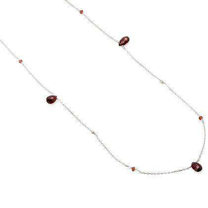 Cari Sterling Silver Garnet 16-18″ Necklace