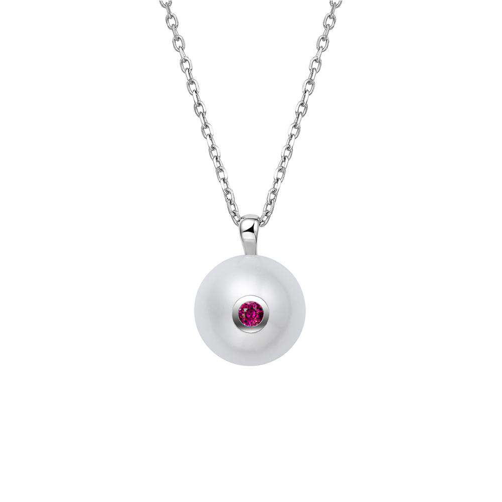 Pearl Pendant in 925 Sterling Silver with Red CZ Stone