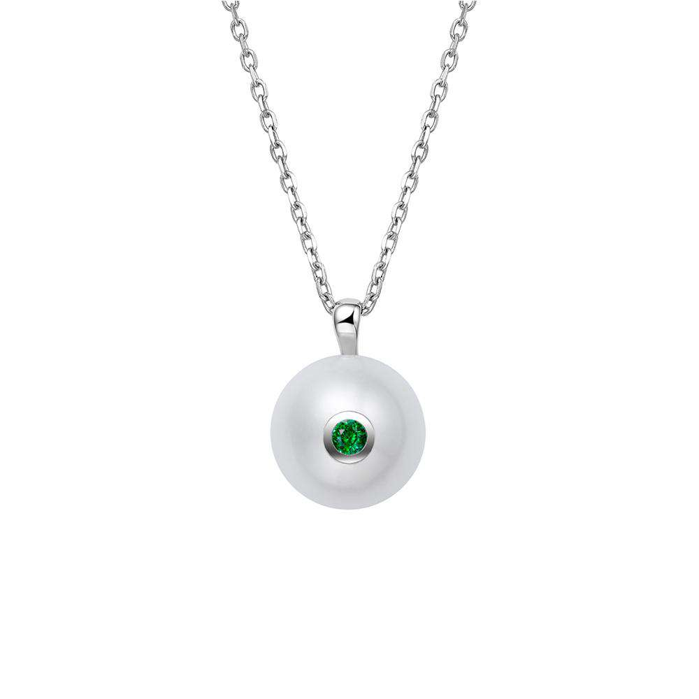Pearl Pendant in 925 Sterling Silver with Green CZ Stone