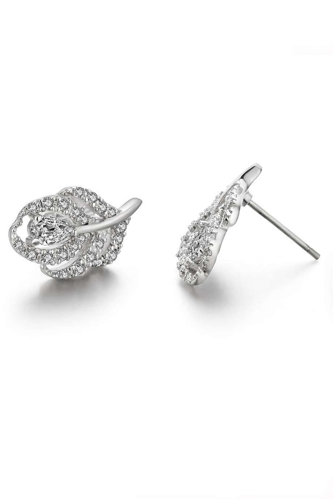 Feather Earrings in 925 Sterling Silver with Clear CZ Stones (Style1)