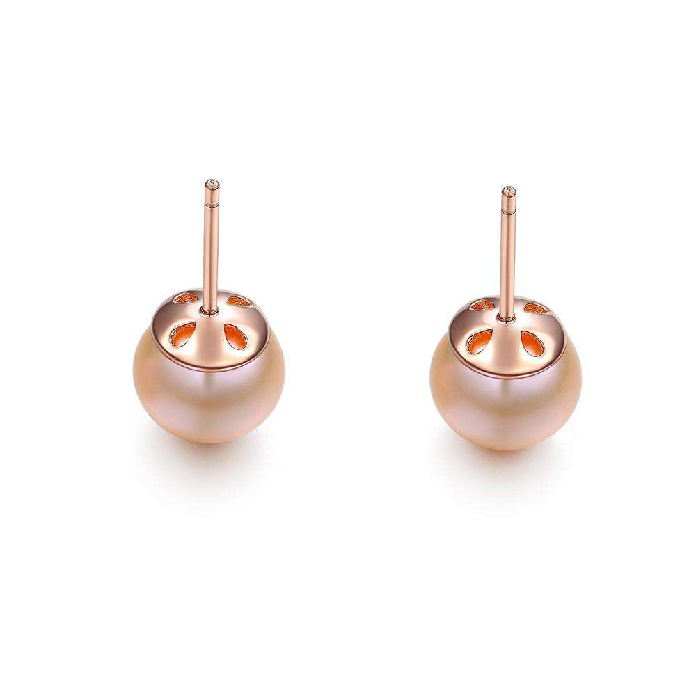 Pearl Earrings in 925 Sterling Silver with Clear CZ Stone and Peach Pearl