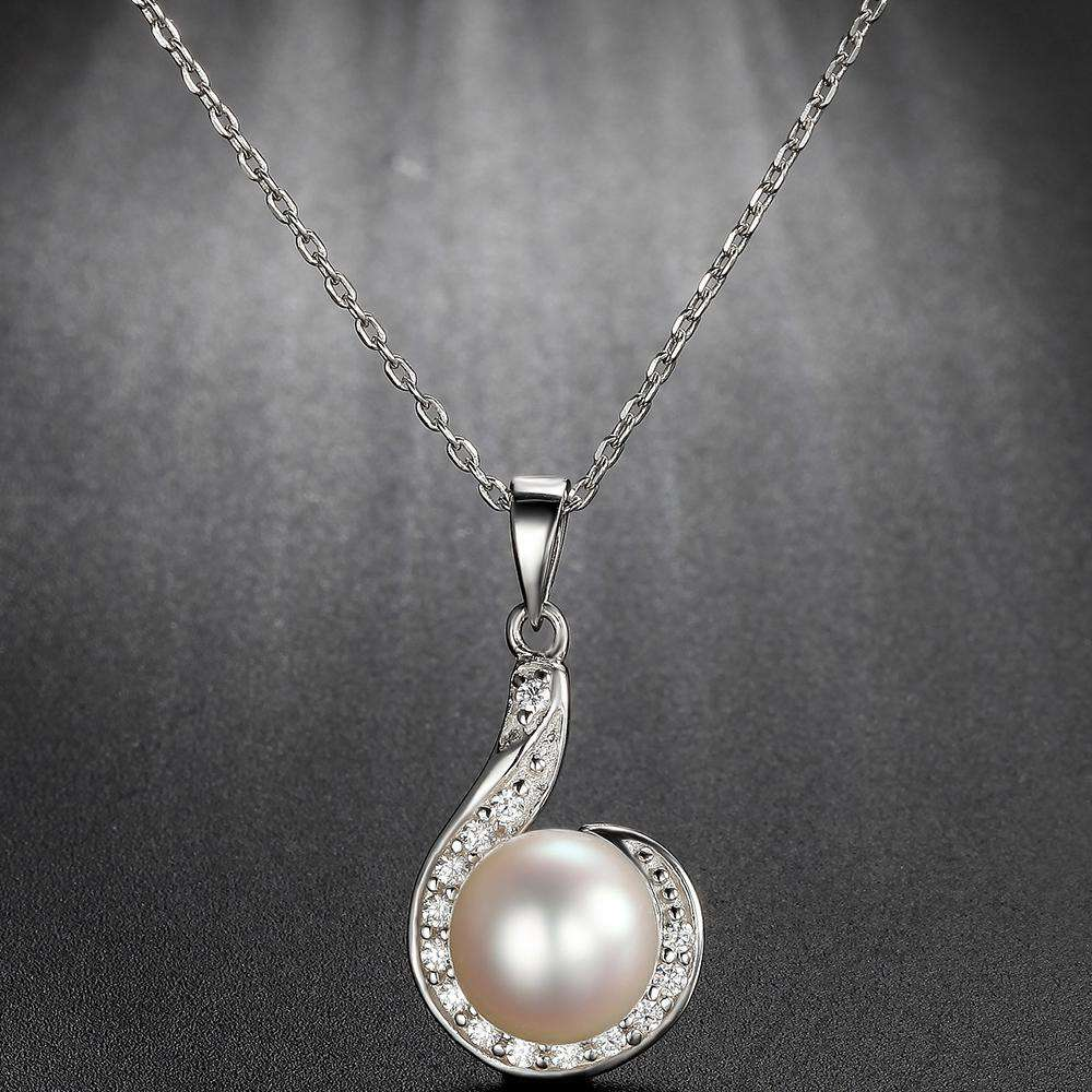 Pearl Flower Pendant in 925 Sterling Silver with Clear CZ Stone