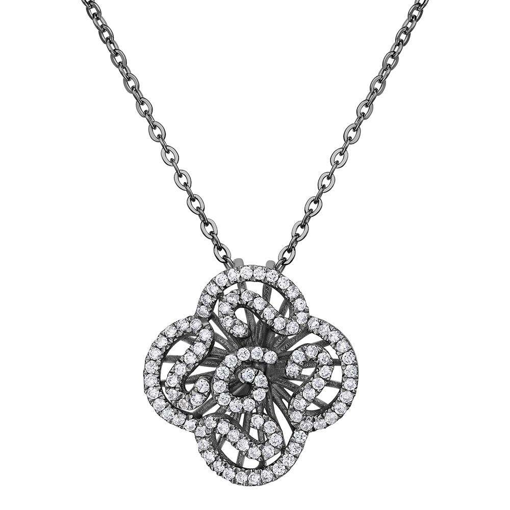 Cascade Stud Pendant in 925 Sterling Black Rhodium Colour