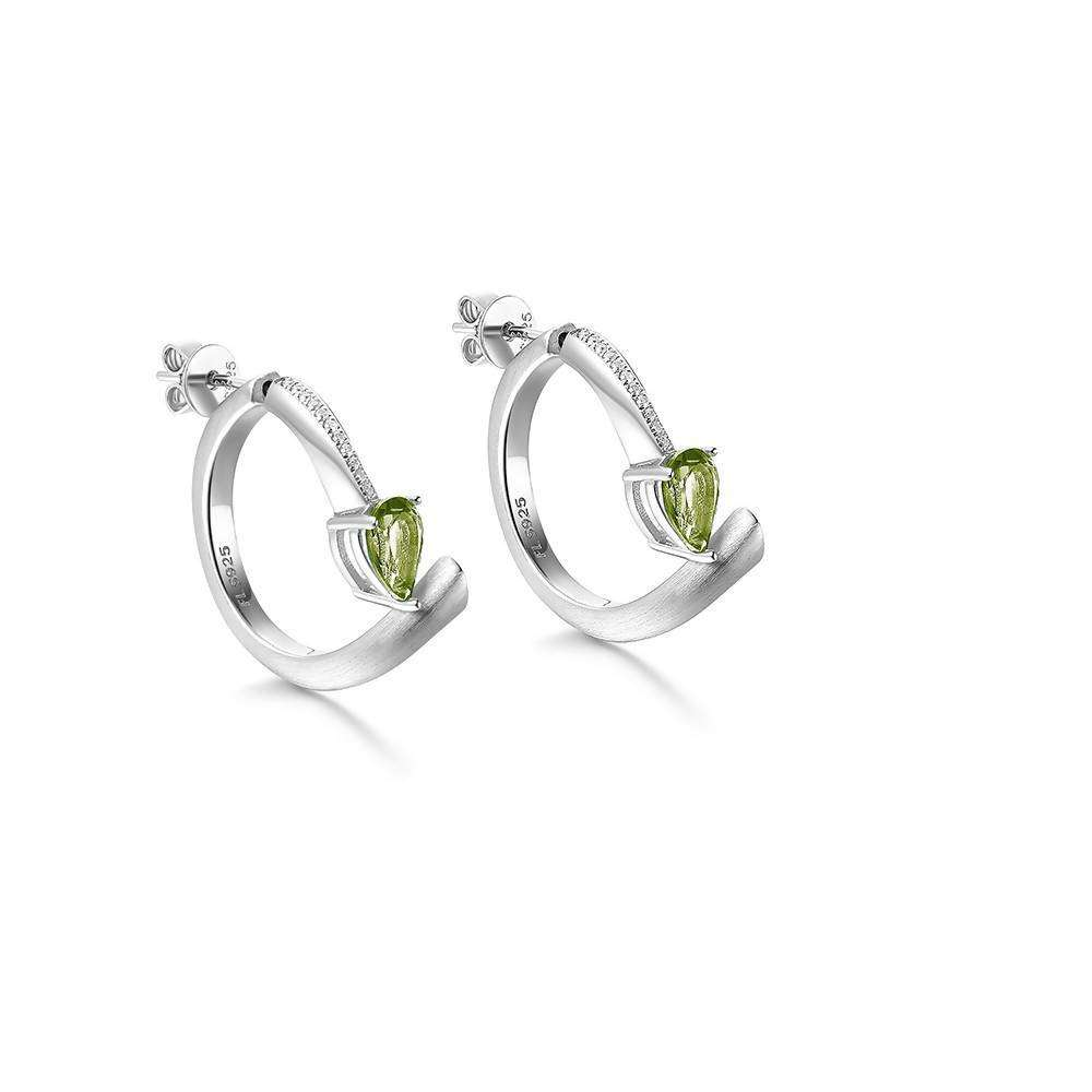 Shooting Star Green Peridot Hoop Earrings in 925 Sterling White Rhodium Colour