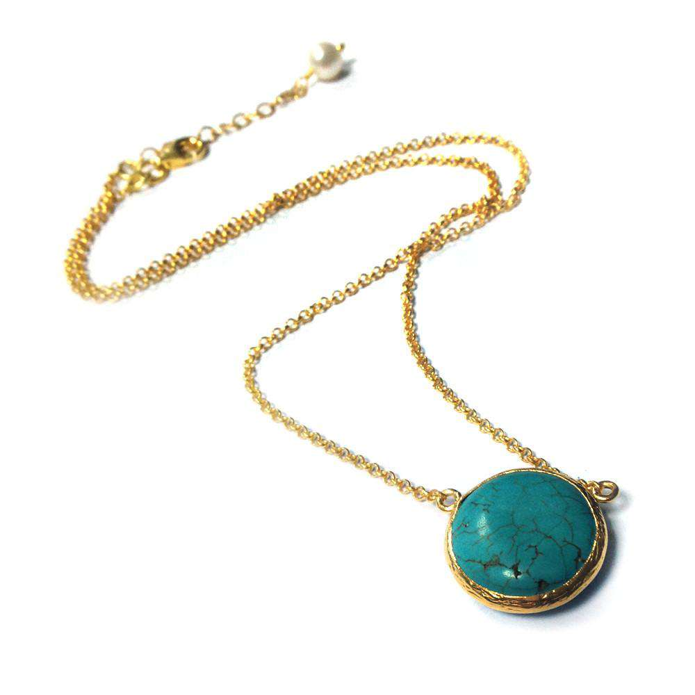 Round Turquoise Necklace - Toosis - THE POMMIER - 1