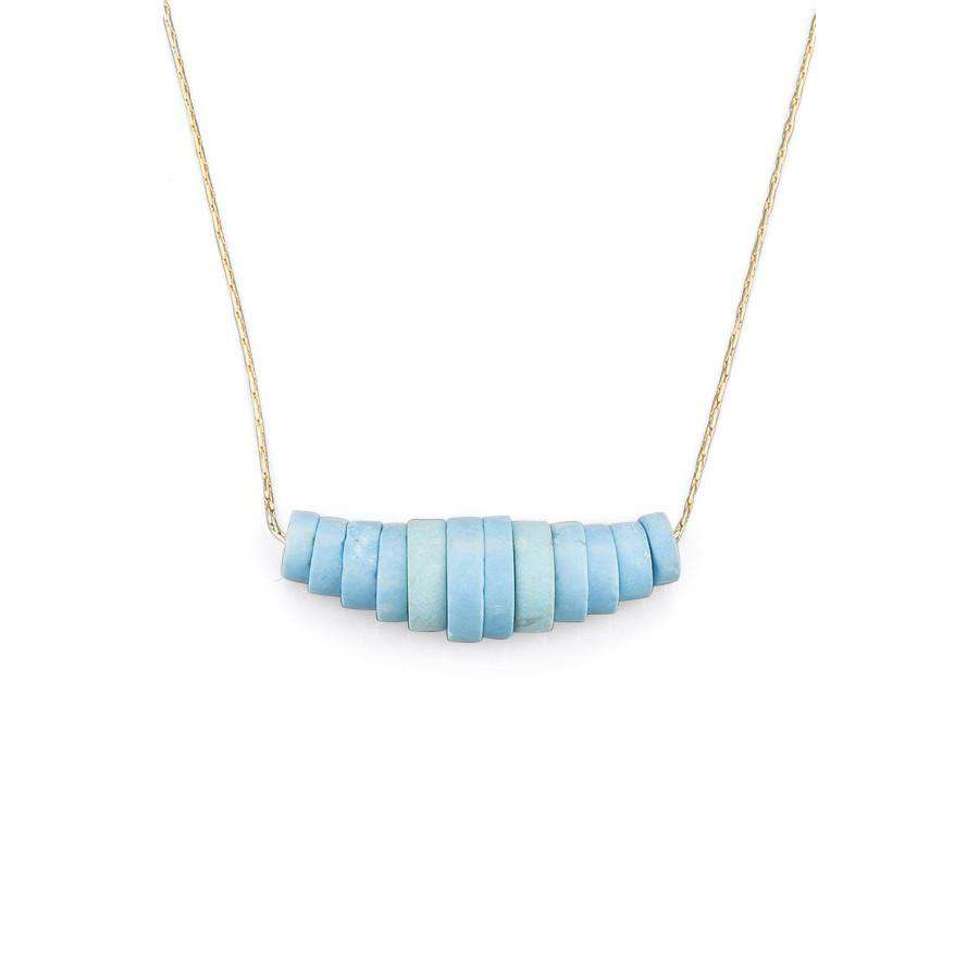 Turquoise Disks Necklace - Toosis - THE POMMIER - 2