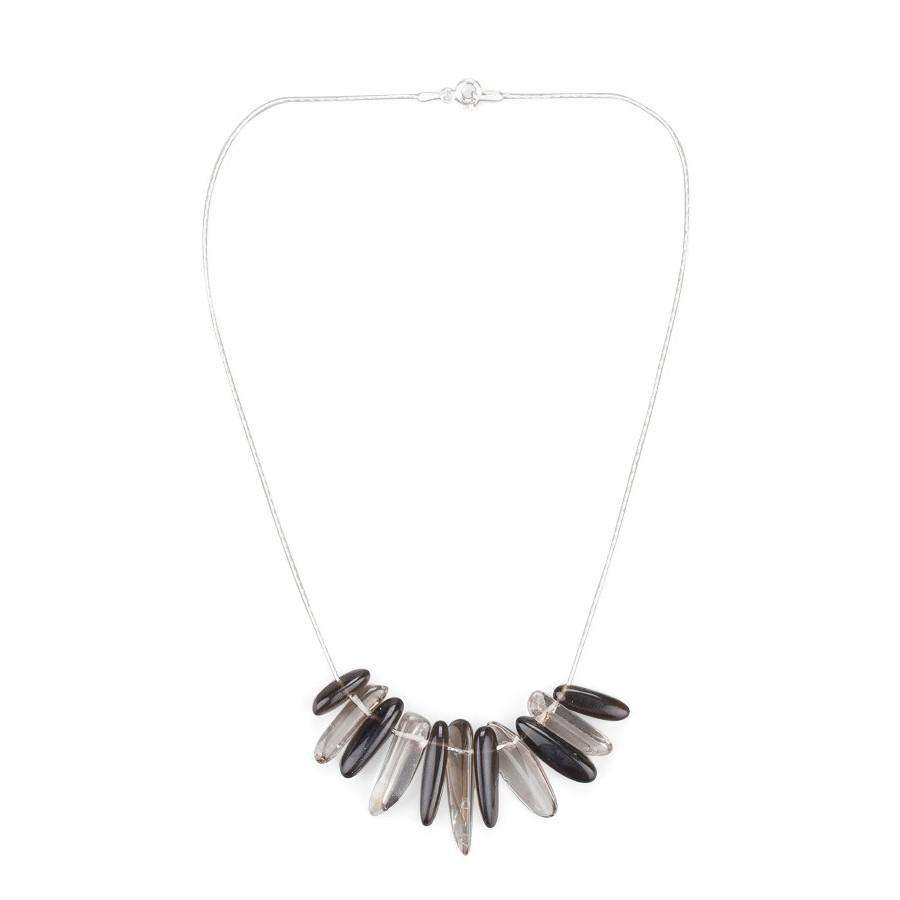 Smoky Quartz Chips Stone Necklace - Toosis - THE POMMIER - 1