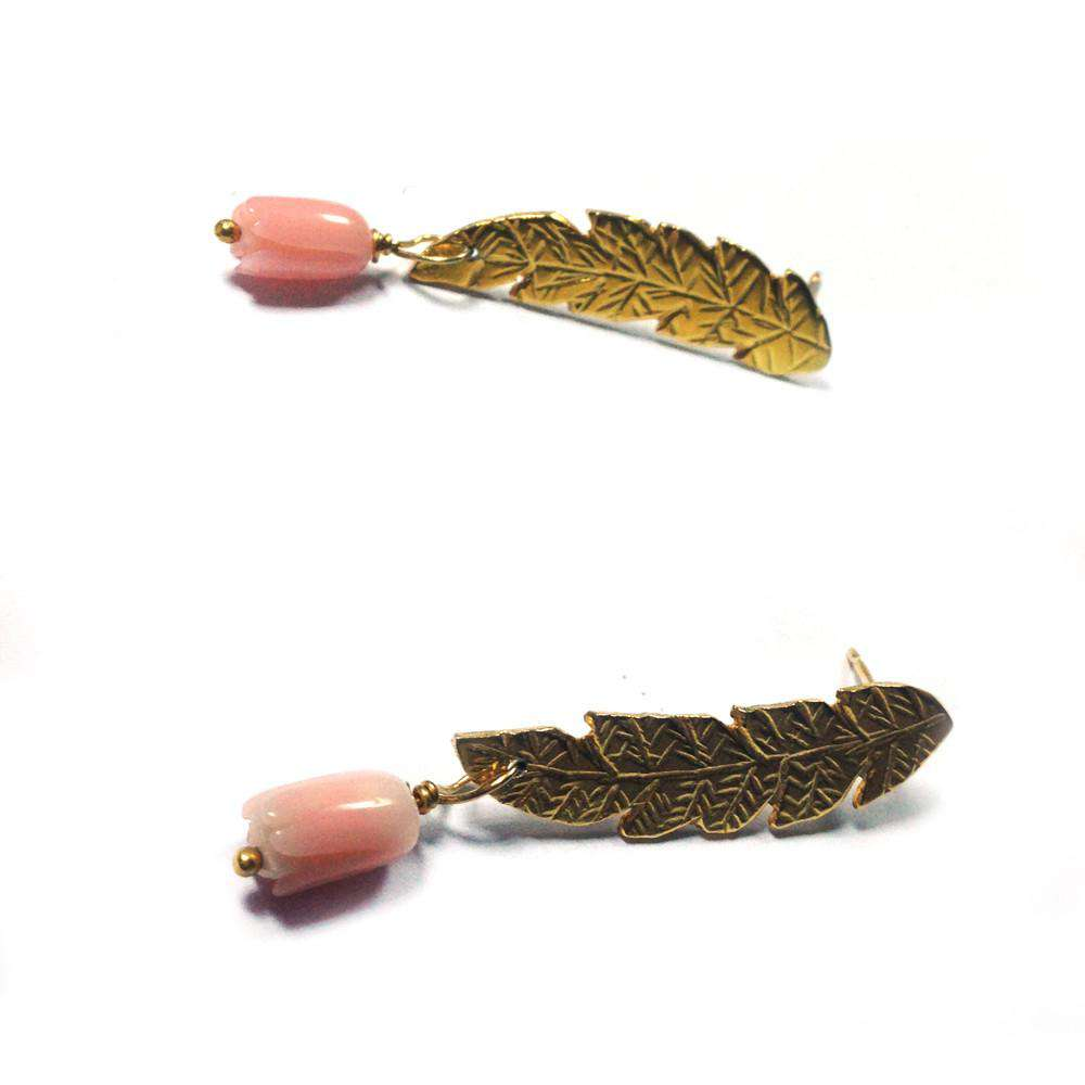Tulip Corals Stud Earrings in Gold Vermeil Sterling Silver - Toosis - THE POMMIER - 2