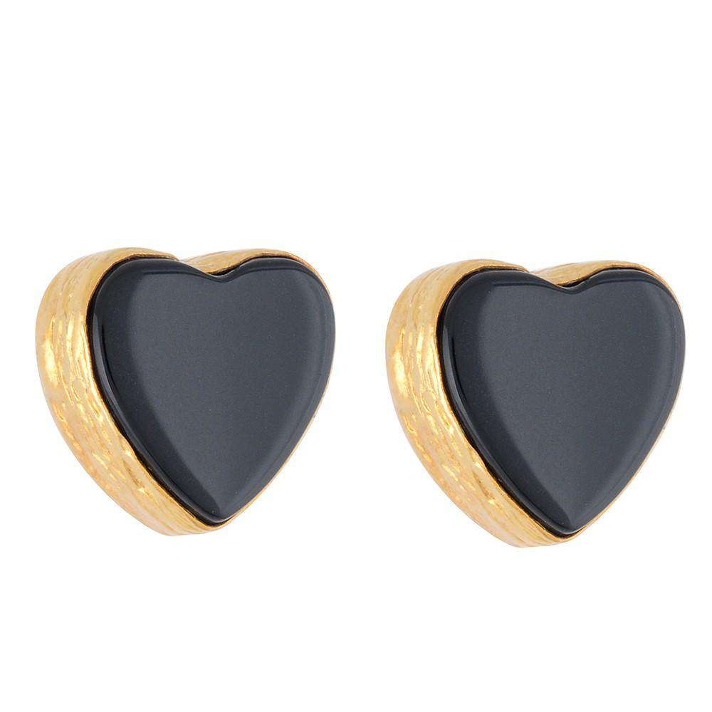 Heart Earrings With Black Onyx Stones