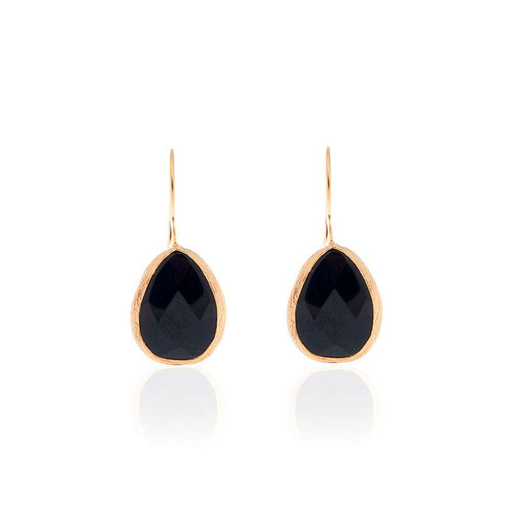 Onyx Drop Earrings with Gold Coated Silver Settings
