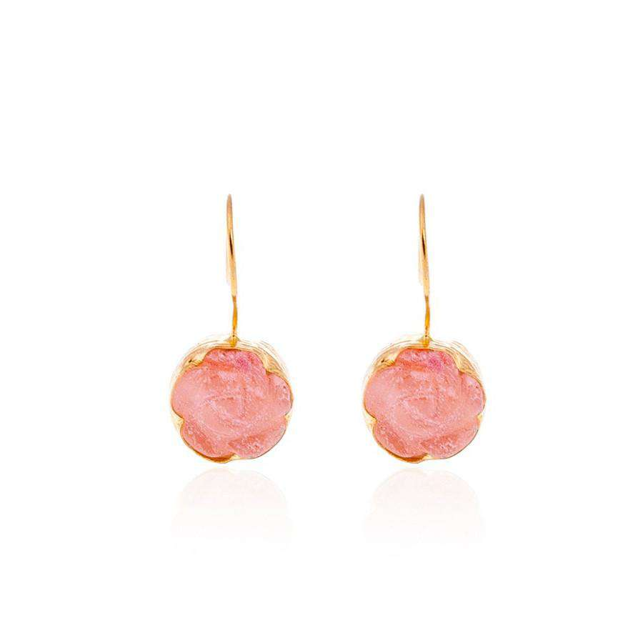 Pink Carved Flower Earrings - Toosis - THE POMMIER - 1