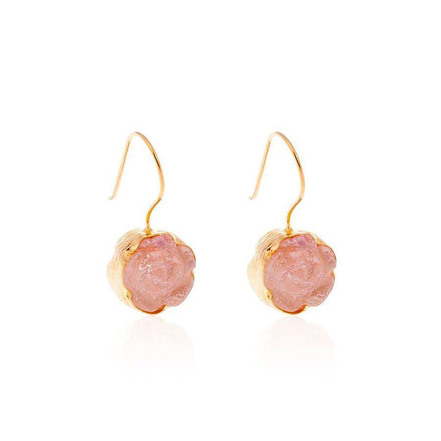 Pink Carved Flower Earrings - Toosis - THE POMMIER - 2