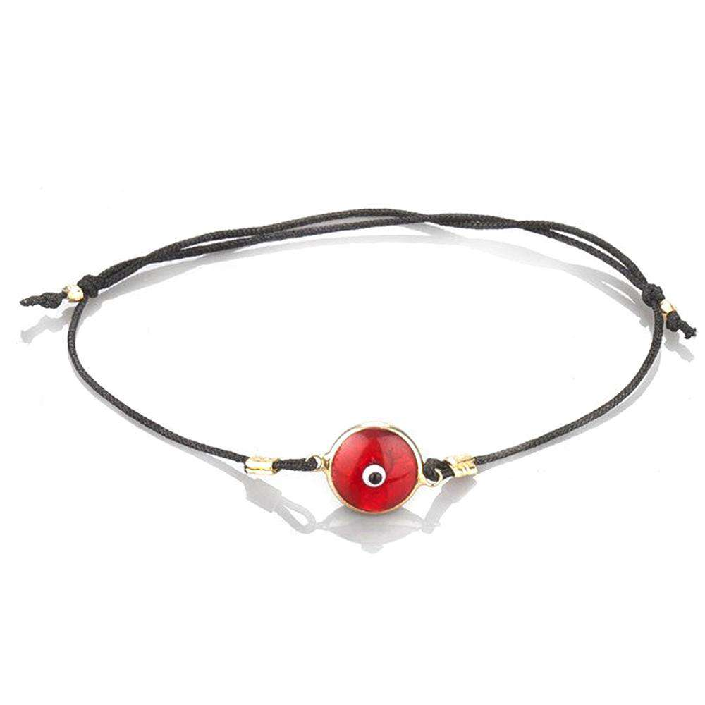 Red Evileye Bracelet In Gold Coated Silver with Black Thread - Toosis - THE POMMIER - 1