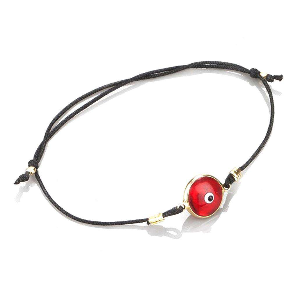 Red Evileye Bracelet In Gold Coated Silver with Black Thread - Toosis - THE POMMIER - 2