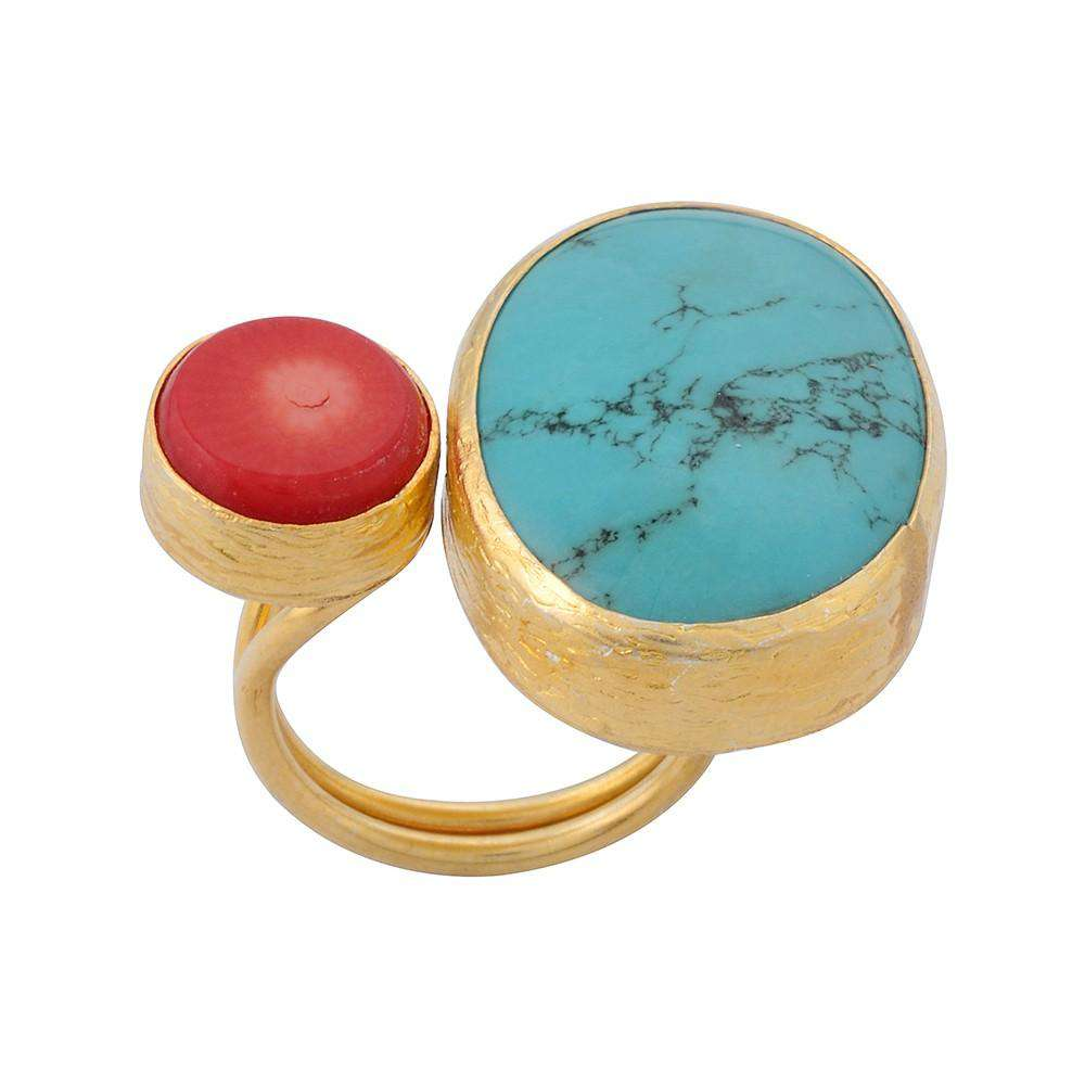 Turquoise and Coral Gold Coated Silver Ring