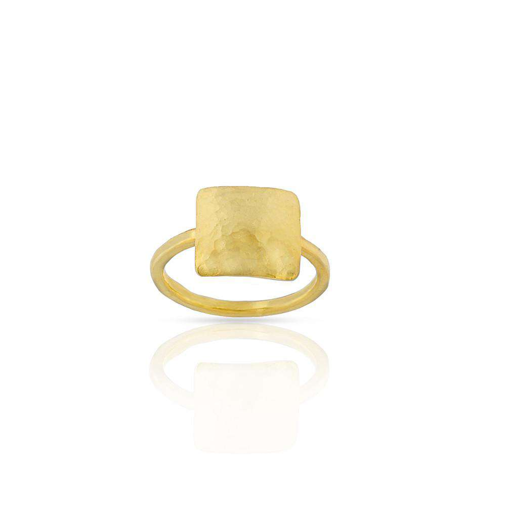 Hammered Square Ring in Gold