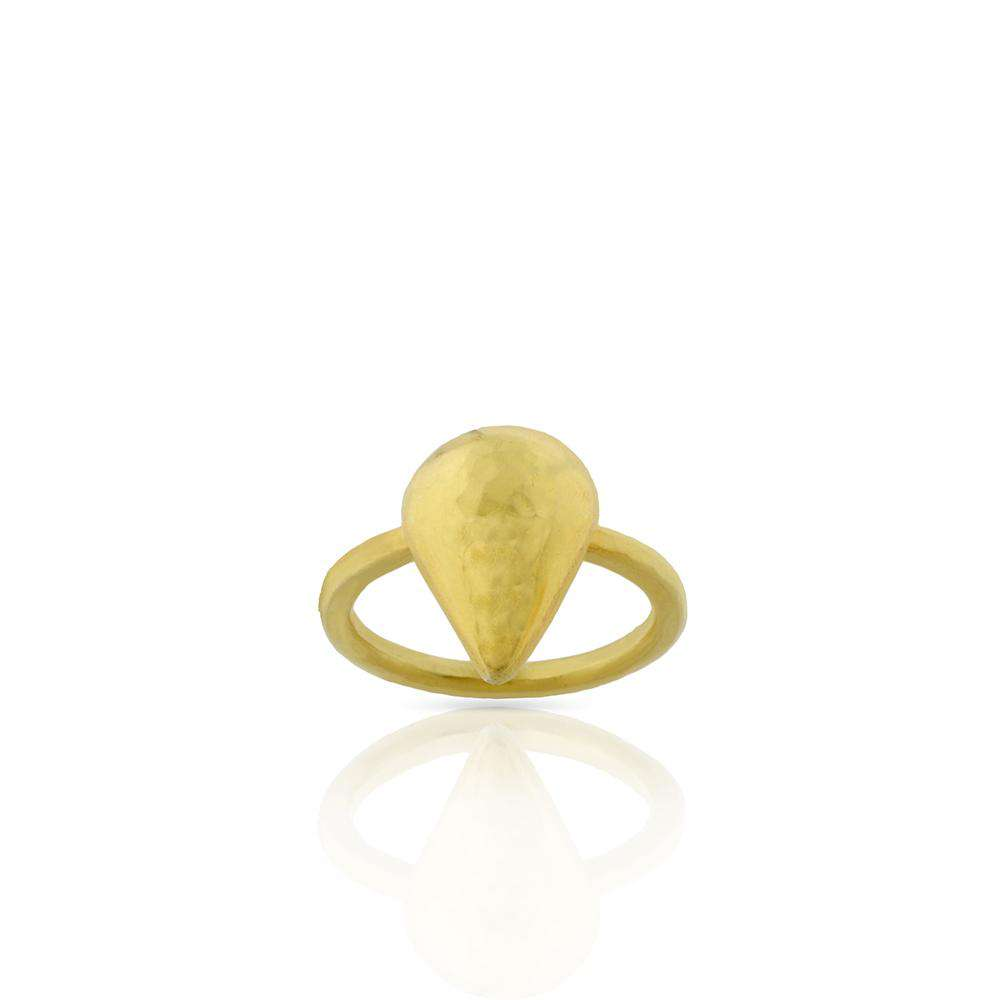Hammered Drop Ring in Gold