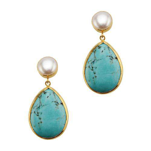 Long Dangling Turquoise drops with Pearl Stud Earrings
