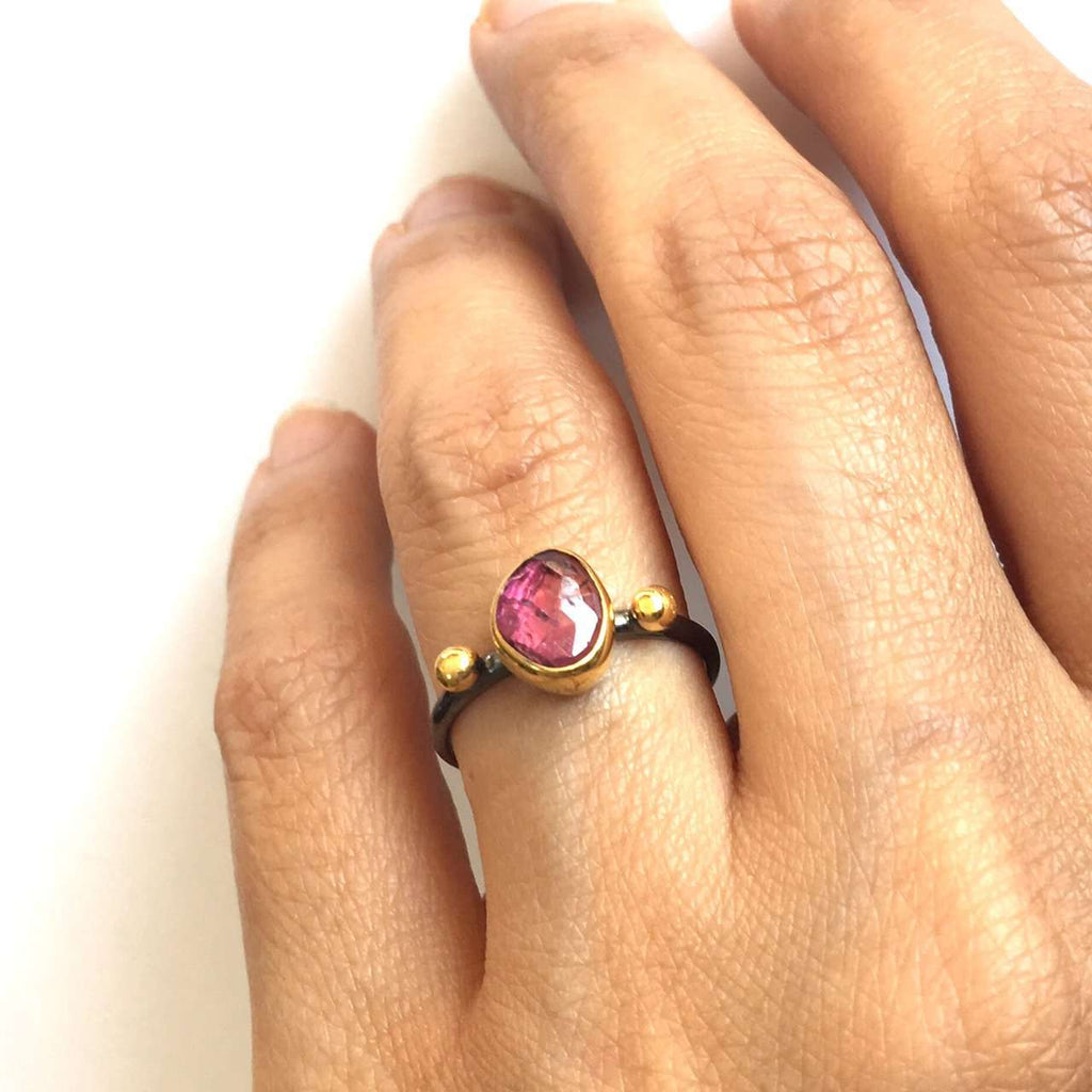 Tourmaline Ring with golden dots
