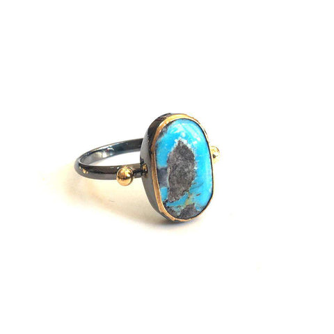 Turquoise Oxidized Silver with Gold Dots
