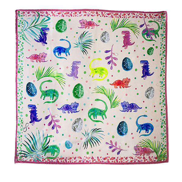 Dino Illustrated Silk Scarf