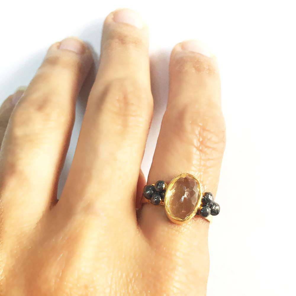 Citrine Ring with three silver dots