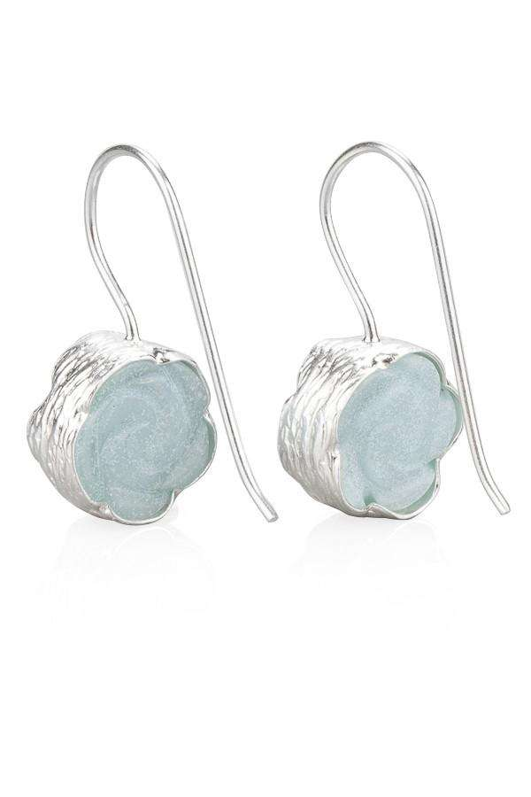 Rose Carved Amazonite Earrings