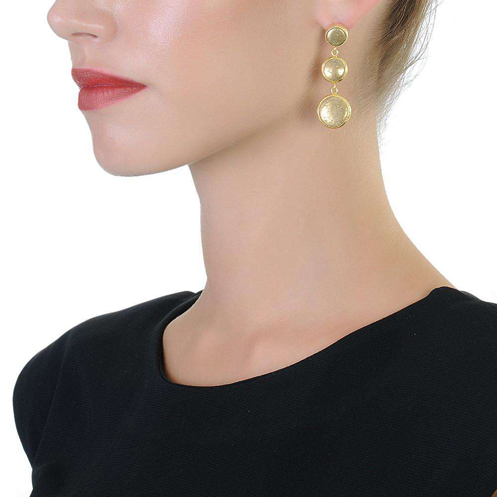 Long Gold Dots Earrings with Pyrite Stones