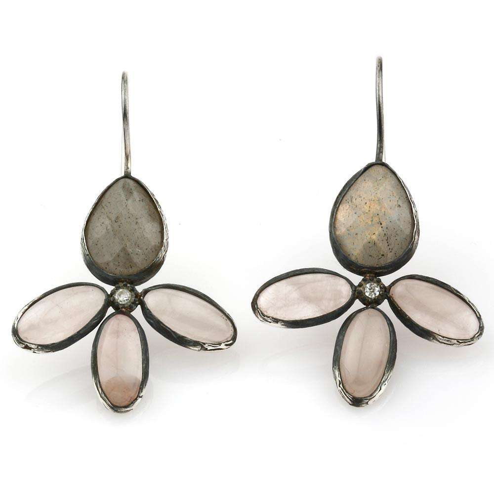 The Bloom Earring with Pink Quartz, Grey Labradorite and zircon Stones