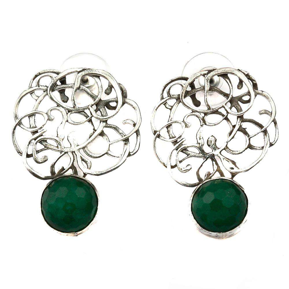 Free Style curved stud earrings with jade stones
