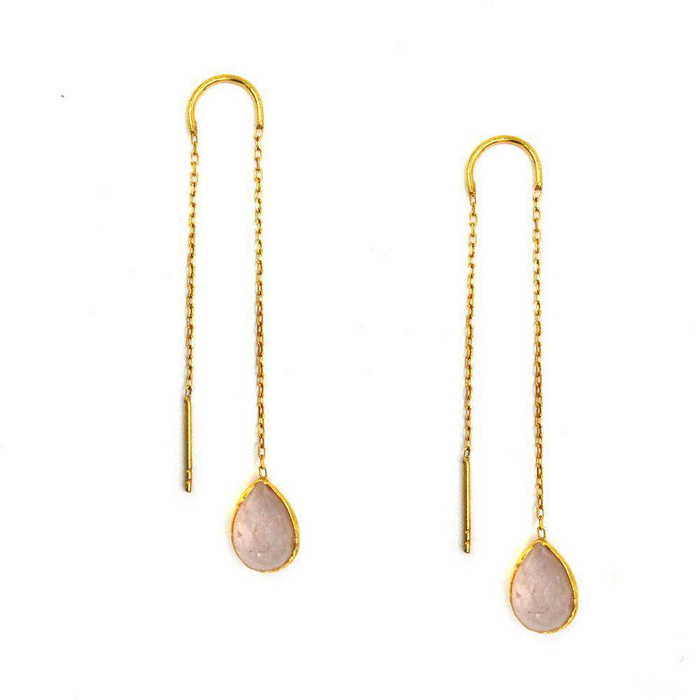 Pink Rose Quartz Drops Earrings in Chain