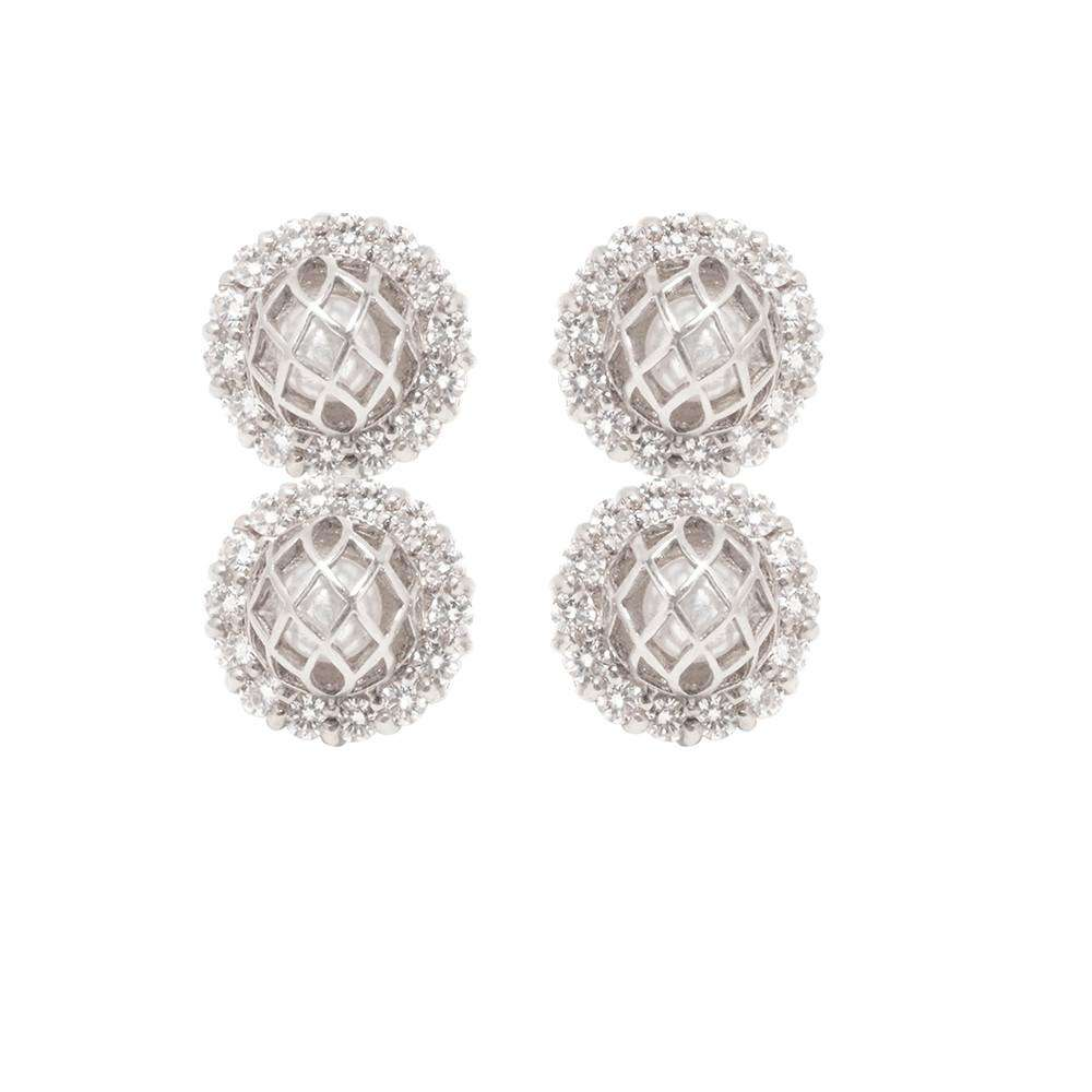 Signature CZ 2 Pearls Earring - Matara - THE POMMIER