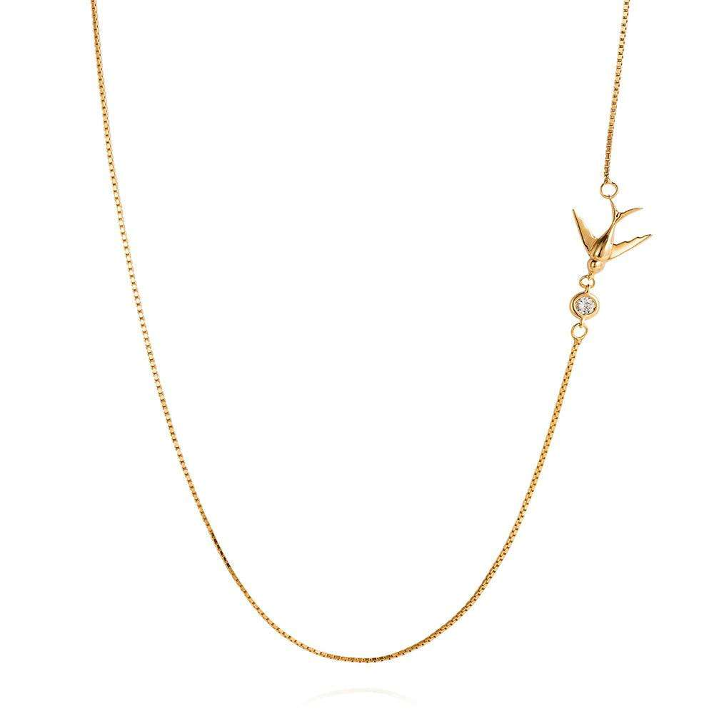 Swallow Necklace – Gold - Lee Renee - THE POMMIER - 3