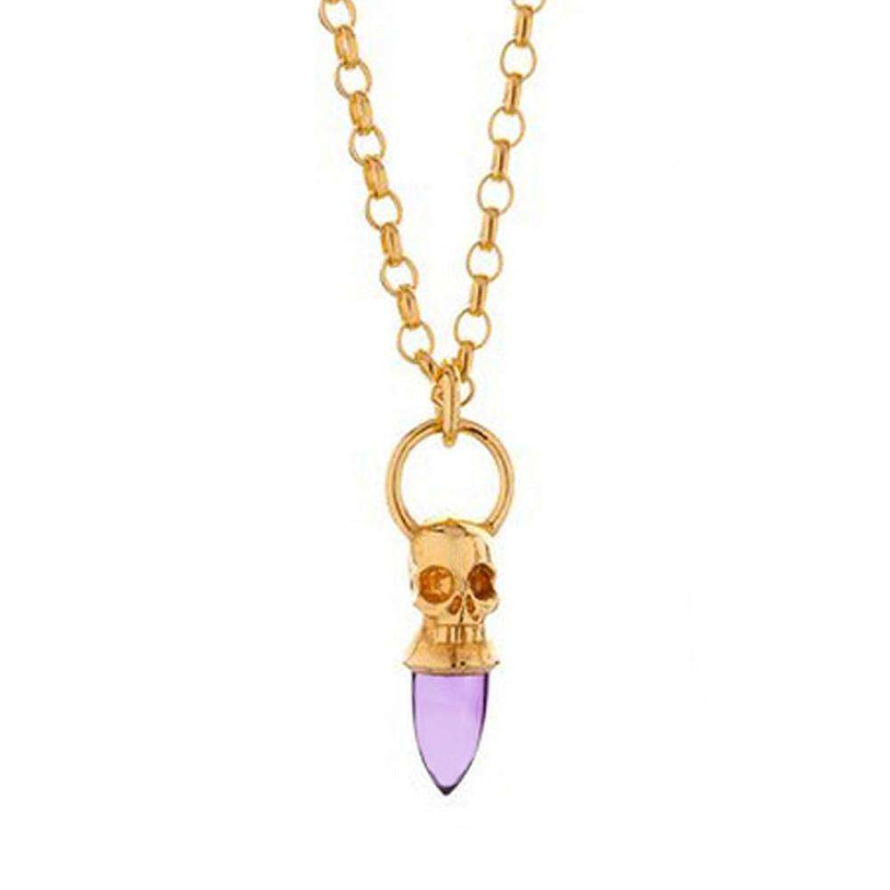 Voodoo Skull Necklace Gold Vermeil Amethyst - Lee Renee - THE POMMIER - 1