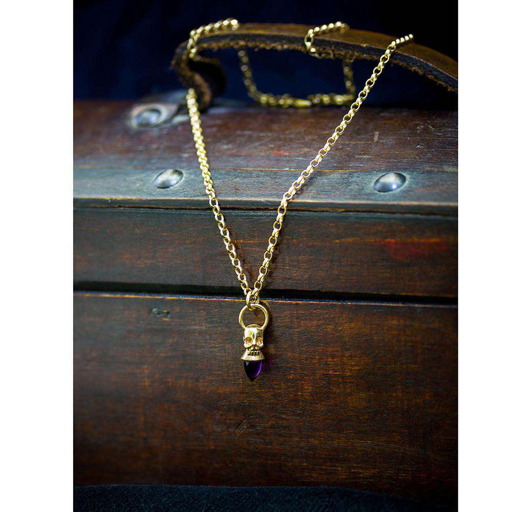 Voodoo Skull Necklace Gold Vermeil Amethyst - Lee Renee - THE POMMIER - 2
